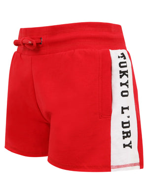 Vallde Sweat Shorts With Printed Side Panels in Barberry - Tokyo Laundry