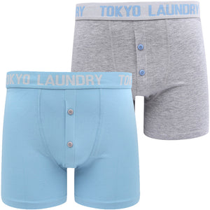 Wetherby 2 (2 Pack) Boxer Shorts Set In Allure Blue / Light Grey Marl – Tokyo Laundry