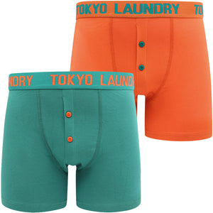 Wetherby 2 (2 Pack) Boxer Shorts Set In River Green / Koi Orange – Tokyo Laundry