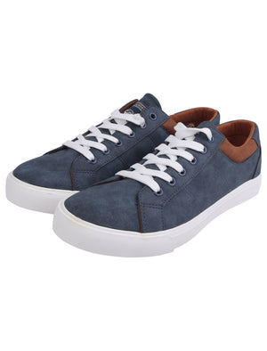 Zen Faux Nubuck Low Top Lace Up Trainers in Navy – Tokyo Laundry
