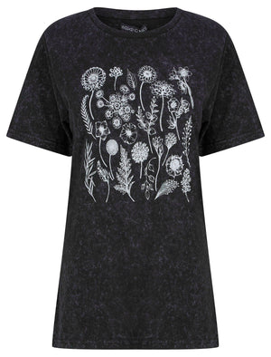 Bloom Motif Acid Wash Cotton T-Shirt in Jet Black - Weekend Vibes