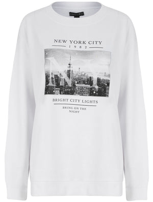 Bright Lights NYC Motif Crew Neck Sweatshirt in Optic White – Weekend Vibes