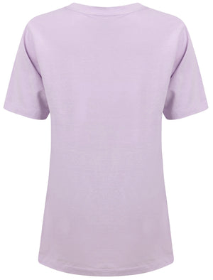 Fate In Your Hands Motif Cotton T-Shirt in Pastel Lilac – Weekend Vibes