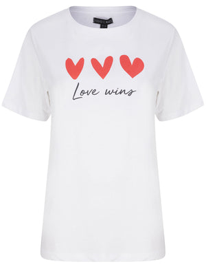 Love Wins Motif Cotton Jersey T-Shirt in Optic White - Weekend Vibes