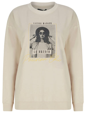 New Parisian Motif Crew Neck Sweatshirt in Stone Marl – Weekend Vibes