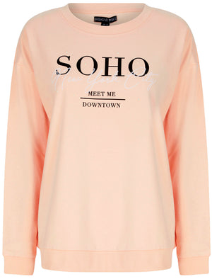 New Soho NYC Motif Crew Neck Sweatshirt in Cameo Rose – Weekend Vibes