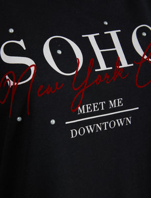New Soho NYC Motif Crew Neck Sweatshirt in Jet Black - Weekend Vibes
