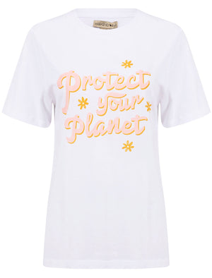 Protect Your Planet Slogan Motif Cotton T-Shirt in Bright White – Weekend Vibes