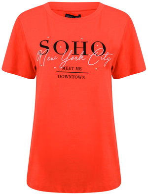 Soho / NYC Motif Studded Cotton T-Shirt in Bittersweet Red – Weekend Vibes