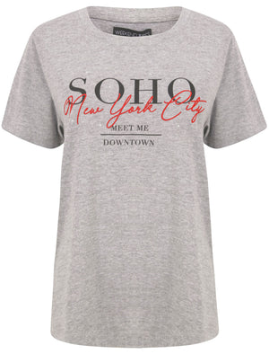 Soho / NYC Motif Studded Cotton T-Shirt in Light Grey Marl – Weekend Vibes