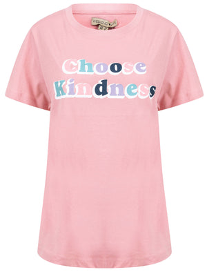 Choose Kindness Motif Cotton Crew Neck T-Shirt in Bridal Rose – Weekend Vibes