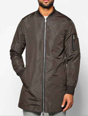 Mens Aiden Longline Bomber Jacket in Mocha Brown