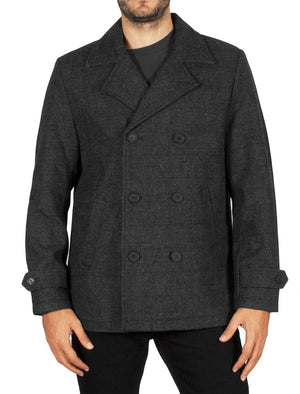 Alaska Double Breasted Wool Blend Peacoat in Grey Check  - Tokyo Laundry