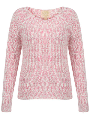 Womens Plum Tree Passion Flower Jumper in Pale Blush and Raspberry Rose twist
