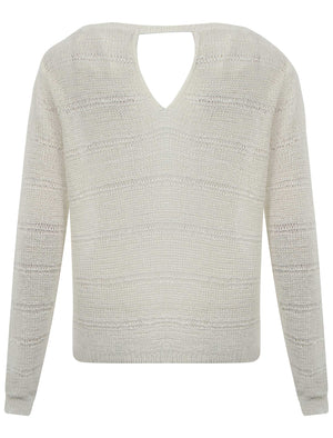 Women's textured open knit cream jumper - Amara Reya