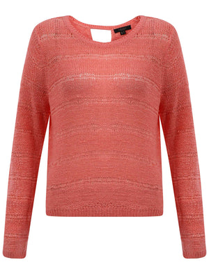 Women's textured open knit pink jumper - Amara Reya