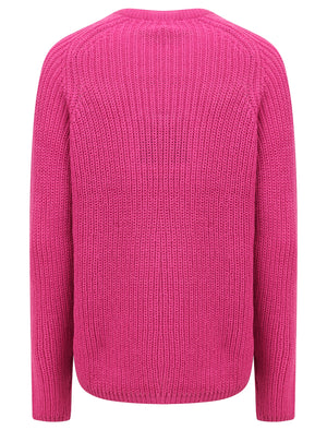 Allium Crew Neck Fisherman Knit Jumper In Rose Violet – Amara Reya
