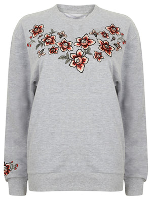 Blossom Floral Embroidered Sweatshirt in Light Grey Marl – Amara Reya