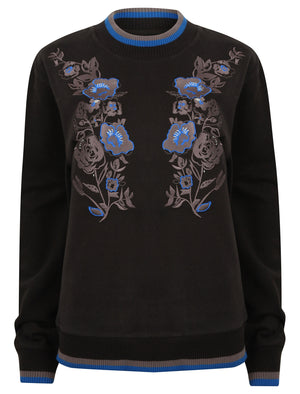 Bluebell Floral Rose Embroidered Sweatshirt in Jet Black – Tokyo Laundry