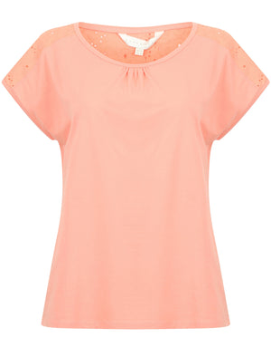 Diandra Broderie Anglaise Insert Top In Candlelight Peach – Amara Reya