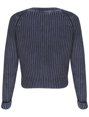 Womens Acid Wash Knitted Jumper in Navy Blue