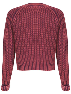 Womens Acid Wash Knitted Jumper in Potent Purple