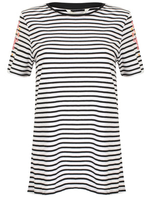 Nina Floral Print Striped Cotton T-Shirt In Black / White – Amara Reya