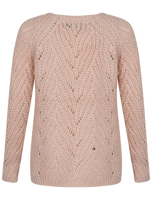 Womens Amara Reya Orange Blossom Textured Knit Jumper in Pale Blush