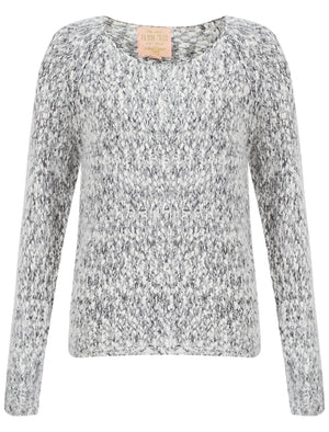 Womens Plum Tree Passion Flower Jumper in Anthracite and Light Grey Twist