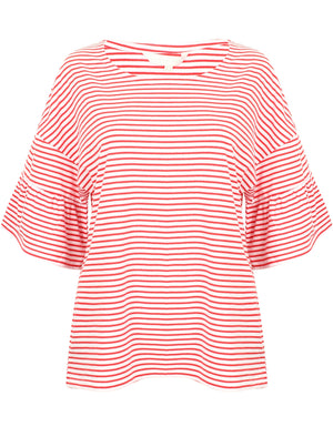 Piper Striped Cotton T-Shirt with Frill Sleeves In Red – Amara Reya