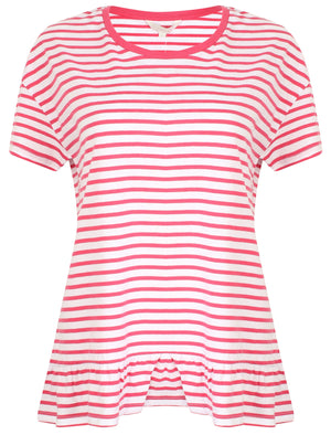 Topaz Striped Frill Hem Cotton T-Shirt In Carmine – Amara Reya