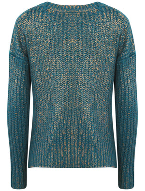 Womens Amara Reya Peach Blossom Crew Neck Jumper in Ocean Depths