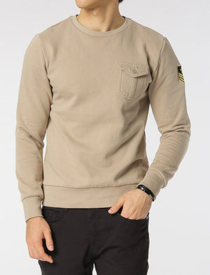 Fiction Crew Neck Military Sweatshirt with Aviator Badge in Mushroom