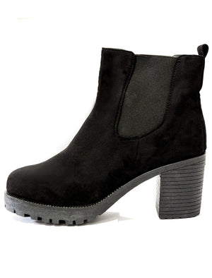 Gabi black suede high heeled Chelsea boots