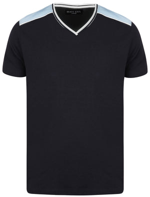 Acton V-Neck Cotton T-Shirt in Navy