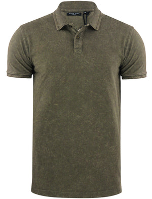 ArnieB Washed Pique Polo Shirt in Khaki