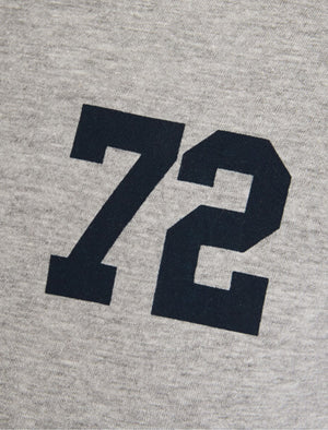 Harvey Raglan Long Sleeve Top in Navy / Grey Marl