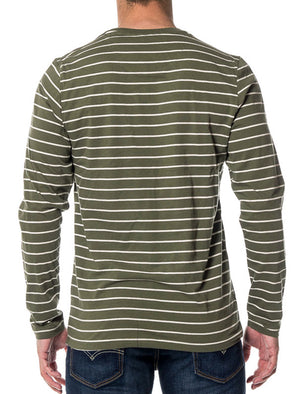 Caine Striped Long Sleeve Top with Chest Pocket in Khaki