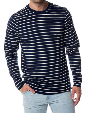 Caine Striped Long Sleeve Top with Chest Pocket in Navy