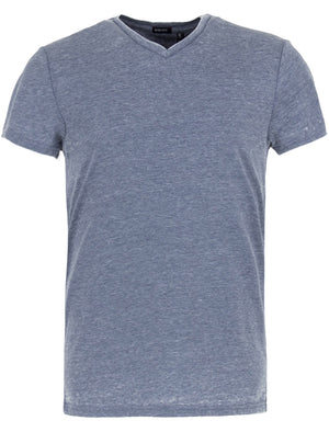 Calibanb V Neck Burn Out Slub T-Shirt in Vintage Indigo