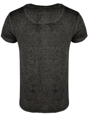 Calibanb V Neck Burn Out Slub T-Shirt in Charcoal