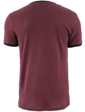 Dunne Textured Crew Neck Ringer T-Shirt with Chest Pocket in Oxblood