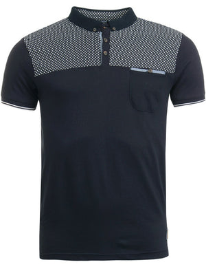 Evian Spot Print Polo Shirt in Navy