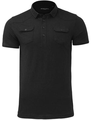 Frazer Cotton Jersey Polo Shirt with Chest Pockets in Black