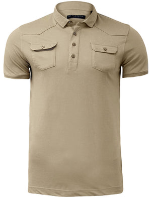 Frazer Cotton Jersey Polo Shirt with Chest Pockets in Mushroom
