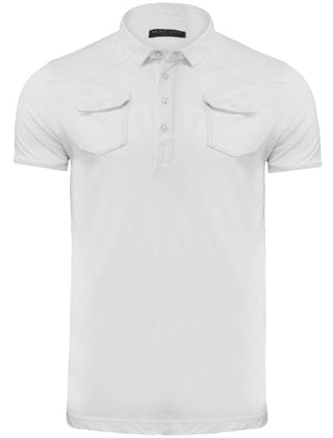 Frazer Cotton Jersey Polo Shirt with Chest Pockets in White