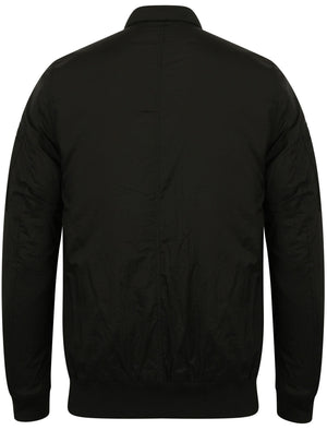 Garrison Zip Through Wrinkle Bomber Jacket in Black