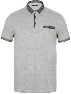 Gill Polo Shirt with Paisley Trim in Light Grey Marl