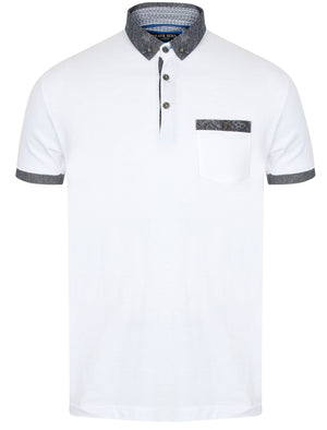 Gill Polo Shirt with Paisley Trim in White