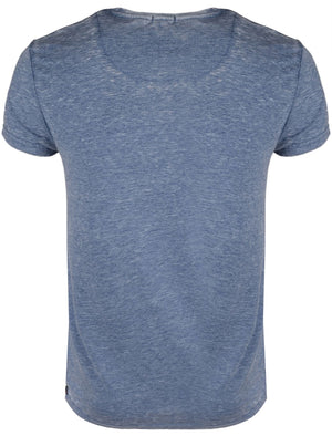 GonzaloB Crew Neck Burn Out T-Shirt in Vintage Indigo
